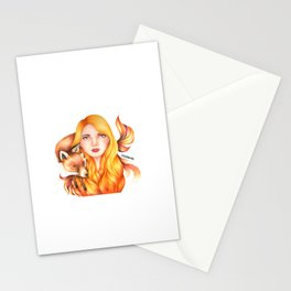 """Element Girls Drawing - """"Fire"""" Stationery Cards"""