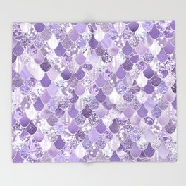 Mermaid Art, Cute Purple, Fun Bathroom Art Throw Blanket