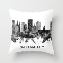 Salt Lake City Utah Skyline BW Throw Pillow