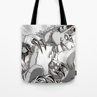 digimon Tote Bags featuring + Digimon - Dorumon + by Xyeziaeos