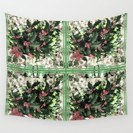 Winter Holly Pattern Wall Tapestry