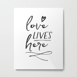 Love Lives Here | Framed Wooden Sign | Farmhouse Style | Rustic Decor | Fixer Upper | Welcome Home Metal Print