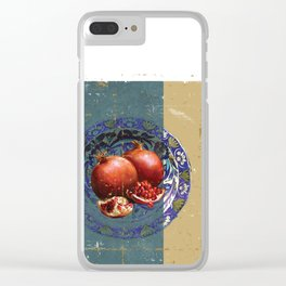 The Fine Art of Pomegranate in the Antique Plate! Clear iPhone Case