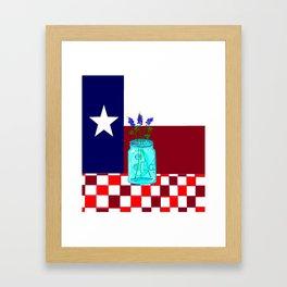 Texas Flag and Blue Bonnets Framed Art Print