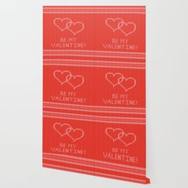 Knitted background with hearts Wallpaper