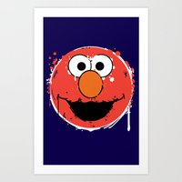elmo Art Prints featuring Elmo splatt by Firepower