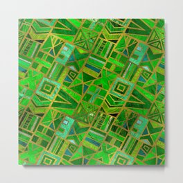 Geometric  Green and Gold African Tribal Pattern Metal Print