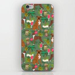 Boxer tiki tropical dog pattern modern pet friendly pet pattern dog breeds iPhone Skin