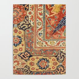 Indian Trellis II // 17th Century Ornate Medallion Red Blue Green Flowers Leaf Colorful Rug Pattern Poster