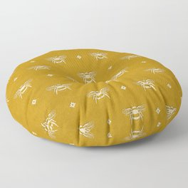 Bee Stamped Motif on Mustard Gold Floor Pillow