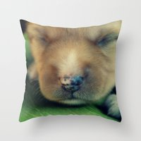 puppy Throw Pillows featuring Puppy by Luiza Lazar