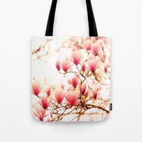 cherry blossoms Tote Bags featuring Cherry Blossoms by Vivienne Gucwa