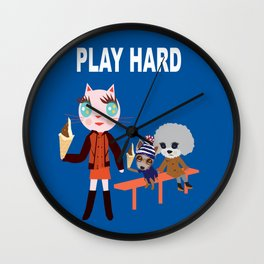 Fashionista Cats-Play hard Wall Clock