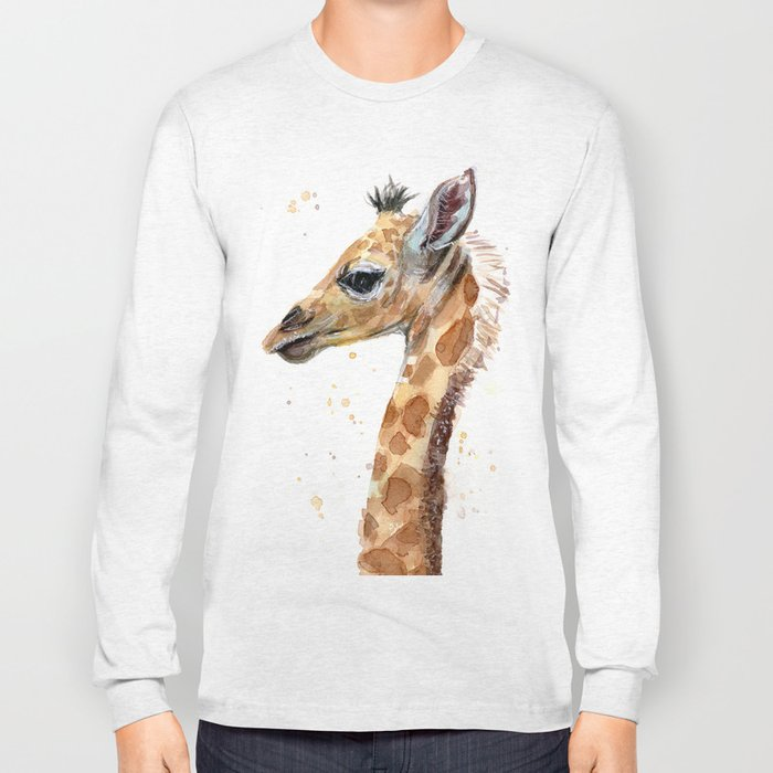 Giraffe Watercolor Cute Baby Animals Whimsical Art Long Sleeve T-shirt