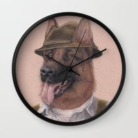 german shepherd Wall Clocks featuring German Shepherd by Rachel Waterman