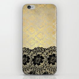 Black floral luxury lace on gold damask pattern iPhone Skin