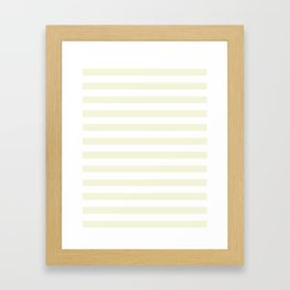Narrow Horizontal Stripes - White and Beige Framed Art Print