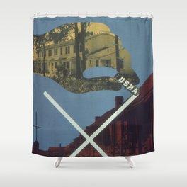 Vintage poster - Cross Out Slums Shower Curtain