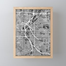 Denver Colorado Street Map Framed Mini Art Print