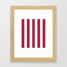 Deep carmine red - solid color - white vertical lines pattern Framed Art Print