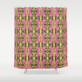 Pink roses with golden stripes pattern Shower Curtain