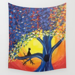 Kitties Love Sunsets Wall Tapestry