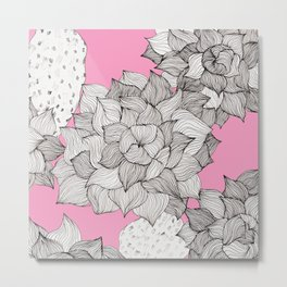 Beautiful hand drawn echeveria succulent with pink background Metal Print