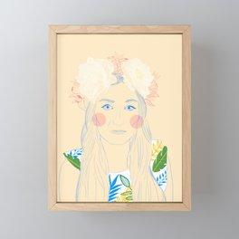 Self portrait with flowers  Framed Mini Art Print