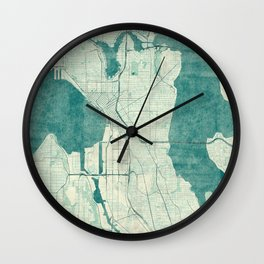 Seattle Map Blue Vintage Wall Clock