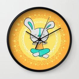 Yoga animals - Rabbit in lotus pose Wall Clock