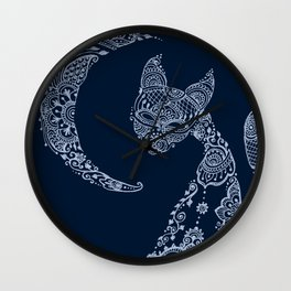 Cat and Moon  - Silver Wall Clock