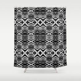 Ethnic Black and White Pattern Shower Curtain
