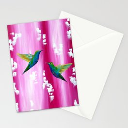 Pink and green with white Stationery Cards