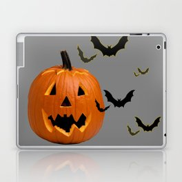 HALLOWEEN FLYING  BLACK BATS & CARVED PUMPKIN FACE Laptop & iPad Skin