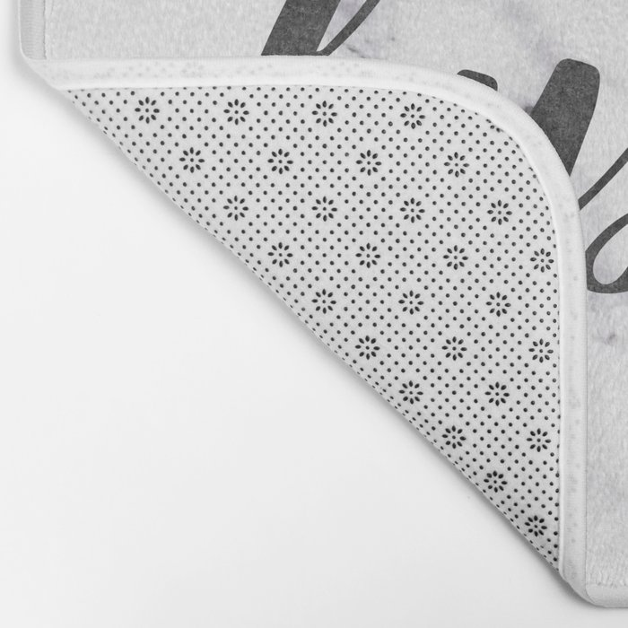 Hustle Text on Marble Black and White Bath Mat