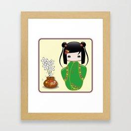 Sakura Kokeshi Doll Framed Art Print
