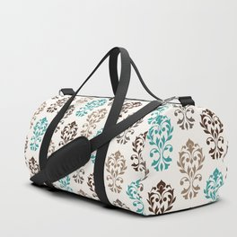 Heart Damask Art I Browns Teal Cream Duffle Bag