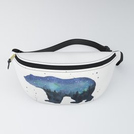Forest Bear Silhouette Watercolor Galaxy Fanny Pack