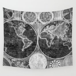World Map (1794) Black & White Wall Tapestry