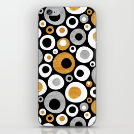 Mid Century Modern Circles in Black, White, Gold and Silver iPhone Skin