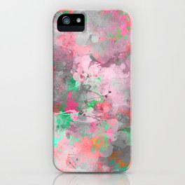 Modern abstract pink gray green watercolor pattern iPhone Case
