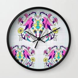 pink bird and yellow floral design Wall Clock