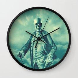 Lord Bonehead VINTAGE GREEN / Skeleton portrait Wall Clock