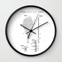 Tennis Racket Patent Wall Clock