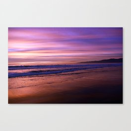 Walking during sunset on Venice Beach, California Canvas Print