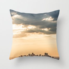Downtown Denver // Vast Orange Yellow Sunset Sky Blue Clouds Skyline Throw Pillow