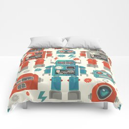 Retro Space Robot Seamless Pattern Comforters