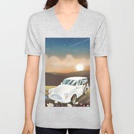 Vintage Car in the sunset. Unisex V-Neck