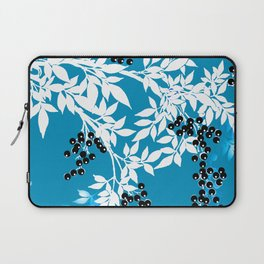 TREE BRANCHES BLUE AND WHITE WITH BLACK BERRIES TOILE Laptop Sleeve