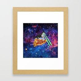 Galaxy Laser Beam Eyes Cat on Pizza Framed Art Print